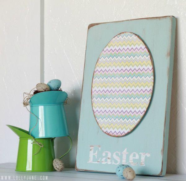 Chevron egg Easter sign | Lolly Jane #easterdecor #tutorial