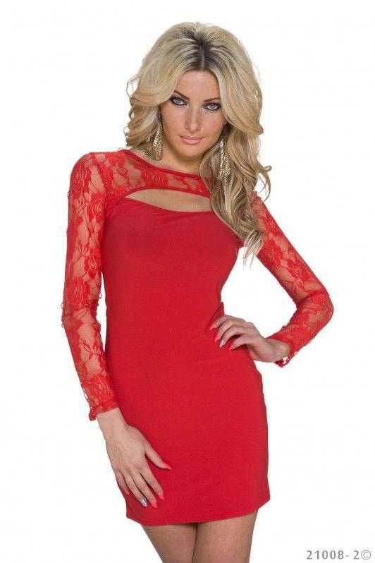 Rood mini jurkje met kanten mouwen en hals