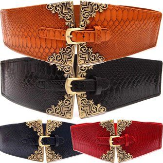 Women Ladies Aligator Artificial Leather Buckle Belt Elastic Stretchable Waistband