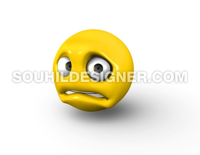 3D Rendering of Scared and Nervous Emoji  | Stock Imagery