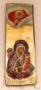 Icona foglia oro dipinta su legno Madonna con bambino SB81,5X26DAF