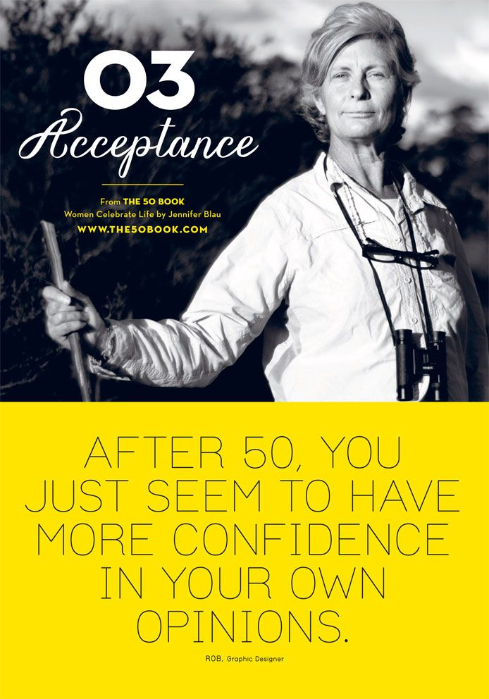 Confidence soars when you realise that #happiness only comes with #acceptance. #motivationalquote #women #the50book #aging