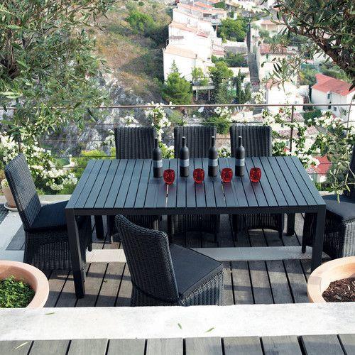 Table de jardin en composite imitation bois et aluminium - Table jardin composite ...