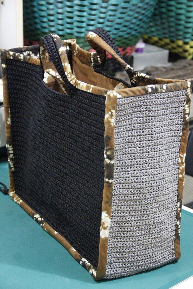 Year end project, hand crochet bag with Sasirangan (Borneo) lining #crochet_bag…