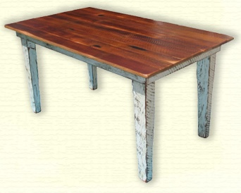 Contrasting colors on top and bottom of this reclaimed wood table.  Easy to picture this in my dining room.