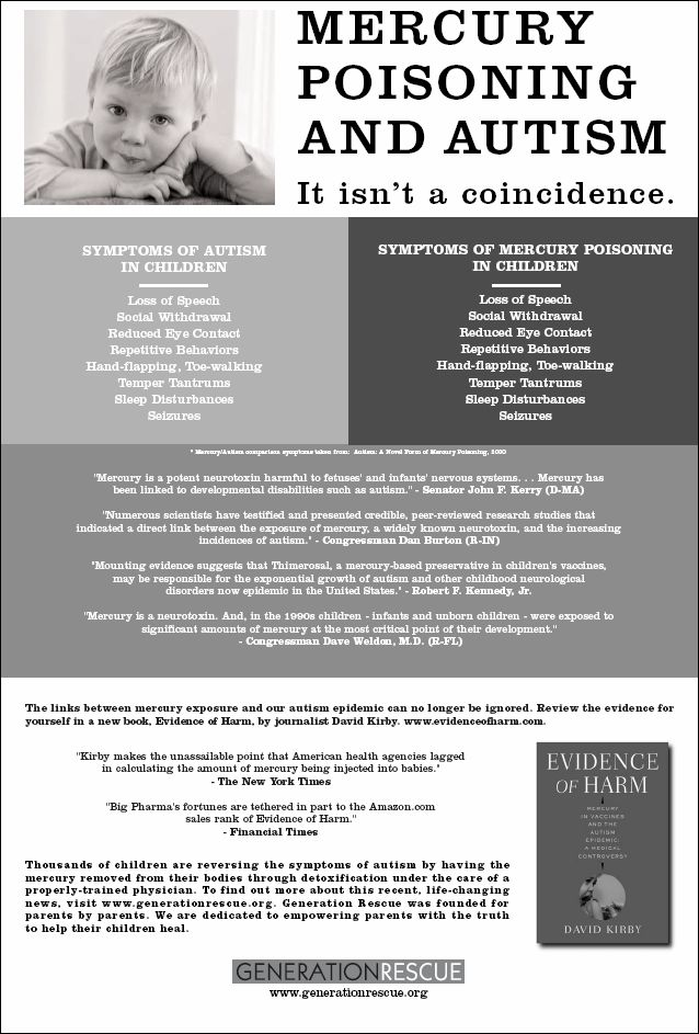 Mercury poisoning from vaccines and autism.