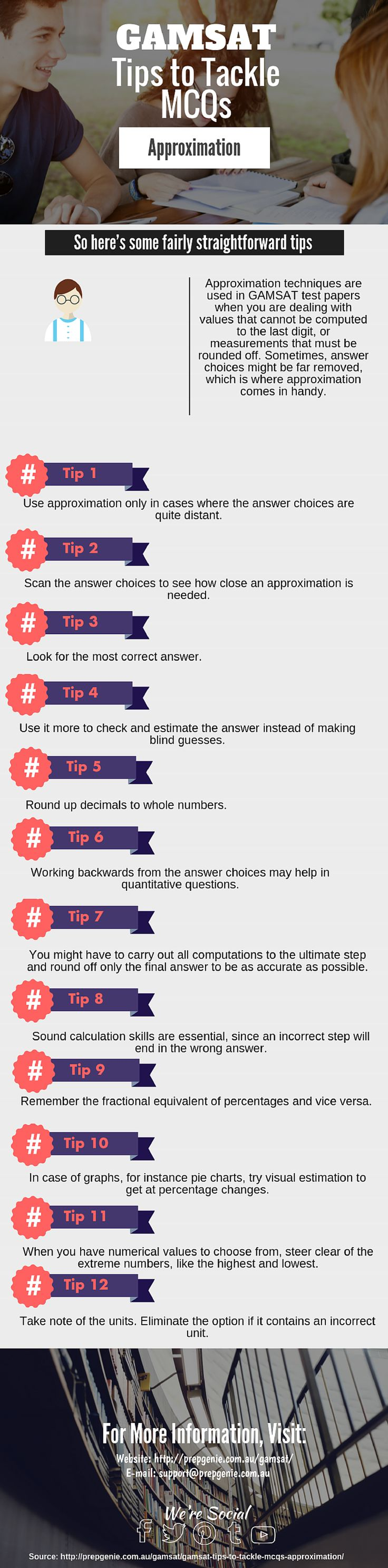 Infographic: #GAMSAT Approximation Tips  Blog Source: http://prepgenie.com.au/gamsat/gamsat-tips-to-tackle-mcqs-approximation/