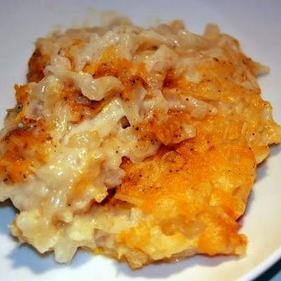 Crack Potatoes - these are so so good.. i'll say it: better than cracker barrel hashbrown casserole :) i use the whole can of cream of onion, and of cream of chicken.. and the whole bag of frozen hashbrowns