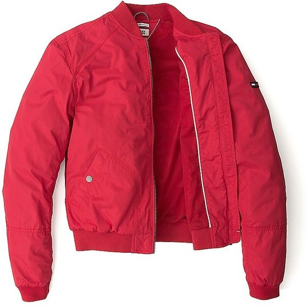 Tommy Hilfiger Spring Weight Bomber (410 BRL) ❤ liked on Polyvore featuring outerwear, jackets, red zip jacket, tommy hilfiger, zip bomber jacket, faux-leather jacket and tommy hilfiger jacket