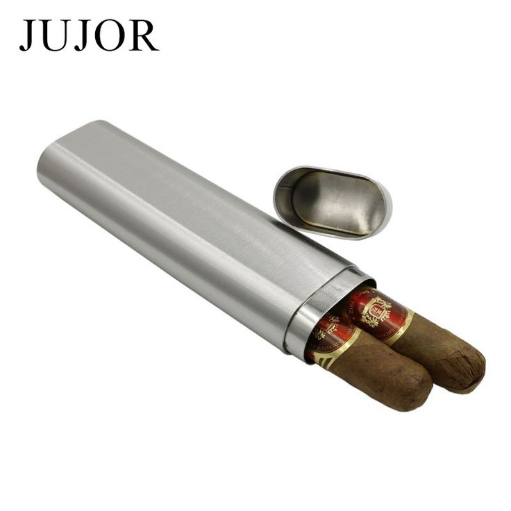 JUJOR Grade 304 Stainless Steel Thickness Two Cigars Tube/Box Frosted High Quality Portable Cigar Accessories and Gift