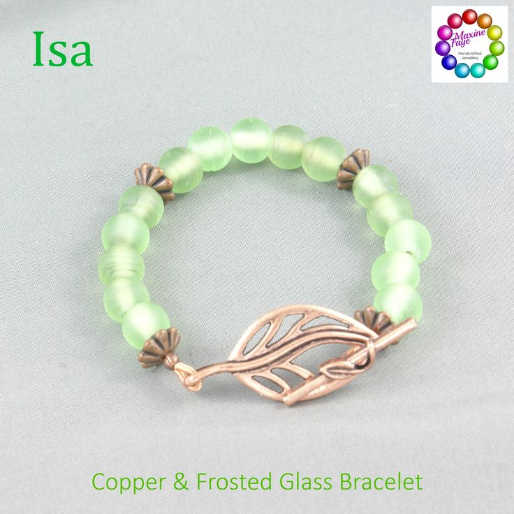 Frosted green glass reminiscent of sea glass is highlighted with copper flower spacers and finished with a large copper leaf toggle clasp.  The internal measurement of this design is approx 16cm https://www.maxinefaye.com.au/product-category/bracelets/