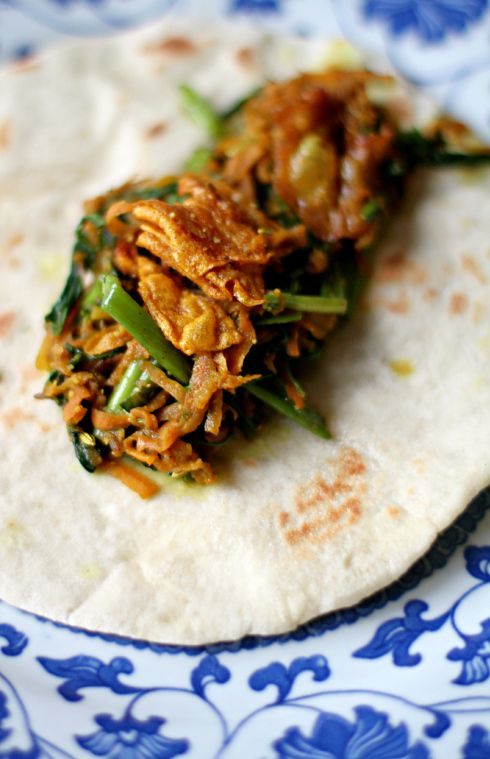 Indian spiced crispy bean curd skin, ung choi and carrot pancake wraps