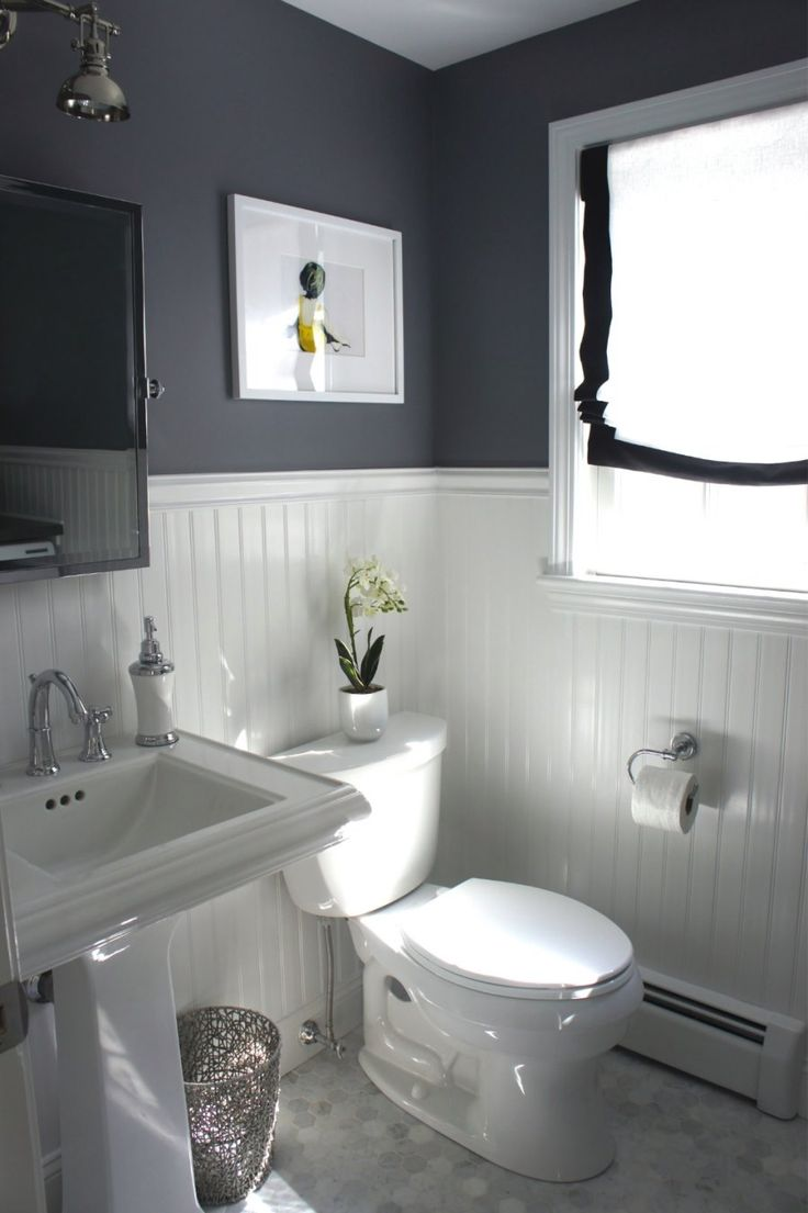 Beadboard paneling in a grey bathroom - Decoist