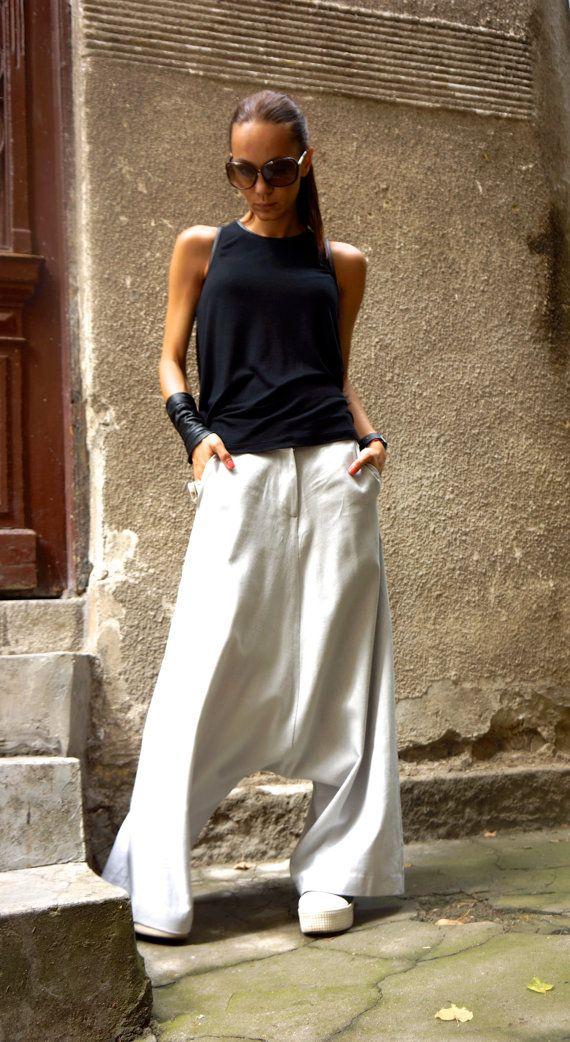 NOUVELLE Collection Loose lin léger gris Sarouels / Vert Olive de goutte Extravagant entrejambe pantalons pantalons Extravagant par AAKASHA A05131