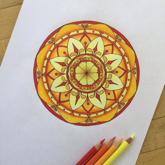 Coloring Pages With Examples. Mandala Focus Hand Drawn Adult Coloring Page Print by MauindiArts 15 best Examples images on Pinterest