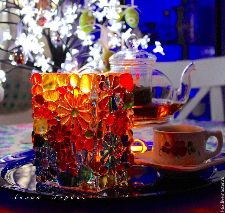 Купить подсвечник из стекла, фьюзинг Цветное счастье - разноцветный, Фьюзинг, стекло, подсвечник