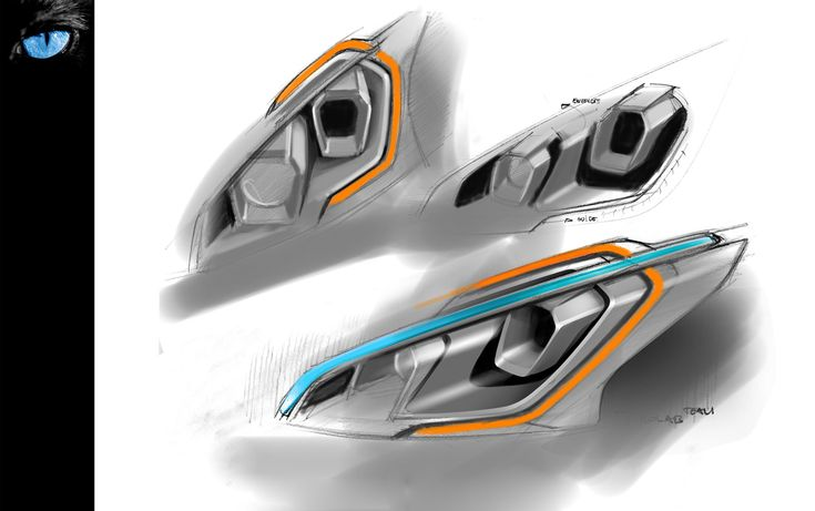 Peugeot 208 GTi Headlight Design Sketch