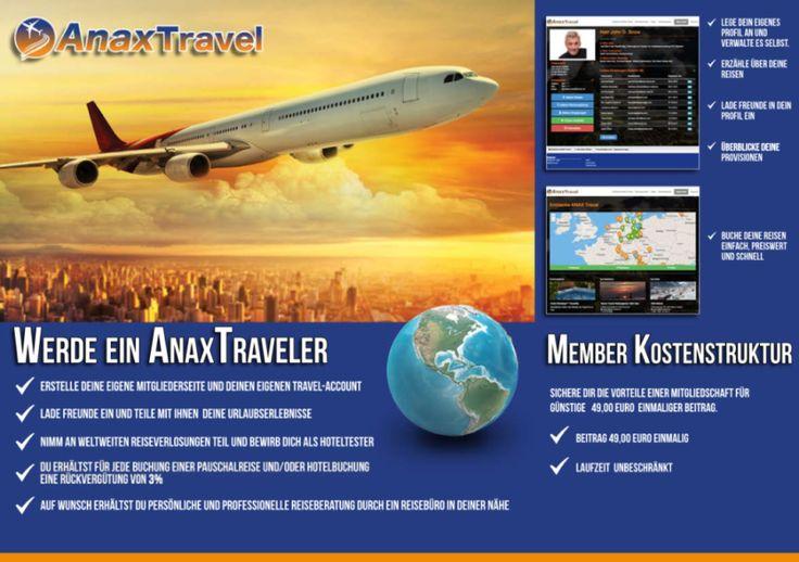 Herzlich Willkommen zur Reiseportal Registrierung auf ANAX Travel!Finde hier Deinen Traumurlaub oder stelle ihn dir selbst aus Millionnen weltweiter Reiseangebote zusammen und sichere Dir deine Reise. Du erhälst sofort Deine Buchungsbestätigung!Du willst noch individueller reisen oder suchst das besondere Extra? Als Clubmember stehen Dir professionelle Reiseberater aus Deiner Umgebung zur Verfügung. Lass Dir von den Reise-Experten anhand Deiner Wünsche und Bedürfnisse Dei...