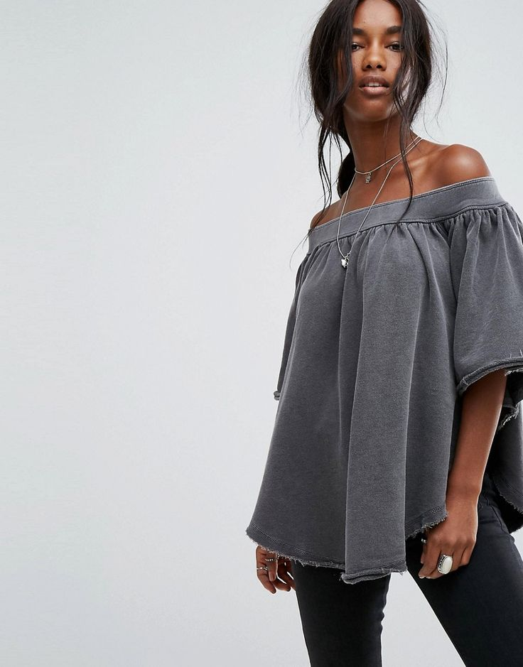 Get this Free People's top off shoulder now! Click for more details. Worldwide shipping. Free People New Kiss Me Off Shoulder Blouse - Black: Top by Free People, Cotton-stretch sweat, Off-shoulder design, Raw-cut trims, Asymmetric hem, Oversized fit - falls generously over the body, Hand wash, 96% Cotton, 4% Spandex, Our model wears a UK S/EU S/US XS and is 175cm/5'9 tall. With roots back to the �70s, the Free People girl lives through art, fashion, music and wanderlust. She�s feminine in...