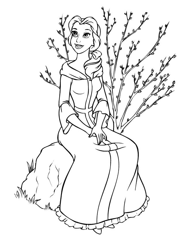Belle Sitting On Large Rock Coloring Pages