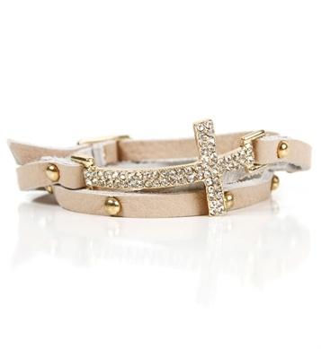 Gold/Beige Rhinestone Wrap Bracelet