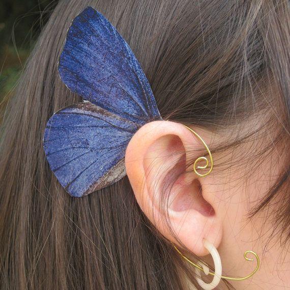 Green Pencil Blue Butterfly Ear Cuff Jewelry by NightLilyDesign, $12.00