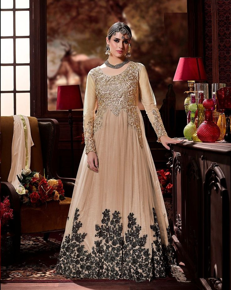 Beige Color Net Party Wear Embroidered Anarkali Salwar Kameez After placed order you should submit Measurement Here