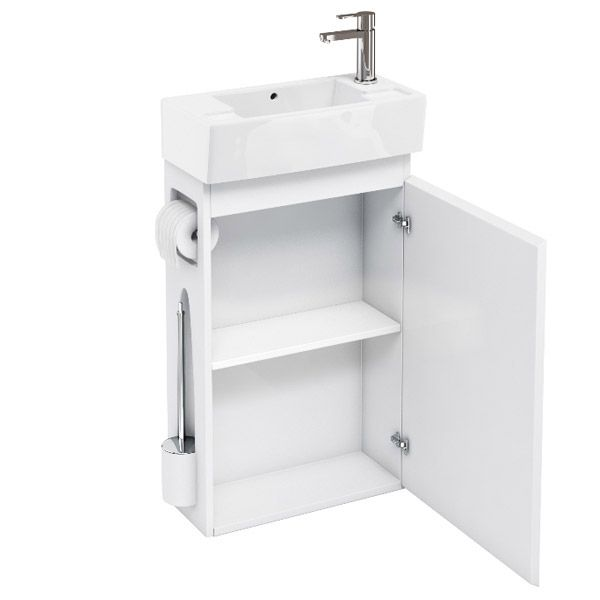 ALLinONE White Vanity Unit with WC Brush & Toilet Paper Holder and Toronto Close Coupled Toilet profile large image view 3
