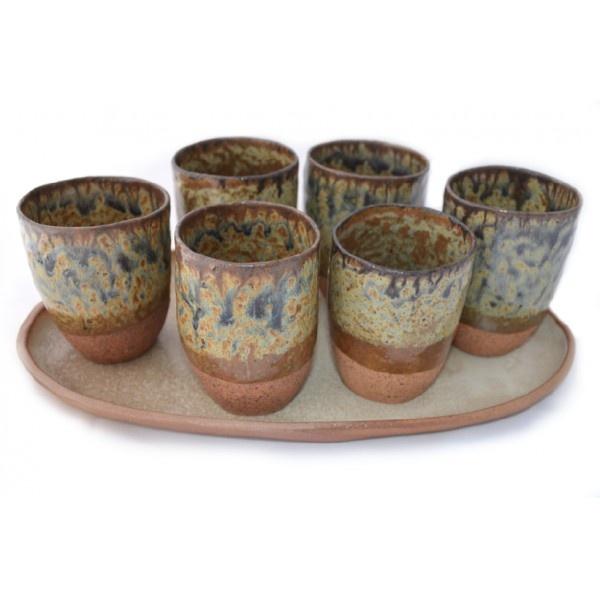 Juego Rústico 6 Vasos Pisco Sour - Manos del Alma