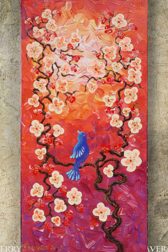 Hey, I found this really awesome Etsy listing at https://www.etsy.com/listing/221837080/bird-art-on-sakura-tree-art-love