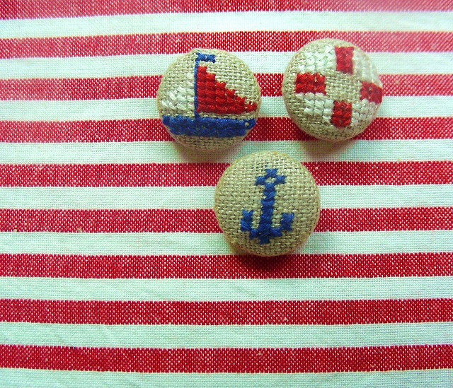 Nautical cross stitch on sweet linen buttons!