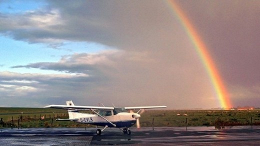 Rainbow and little plane - Norderney, Germany