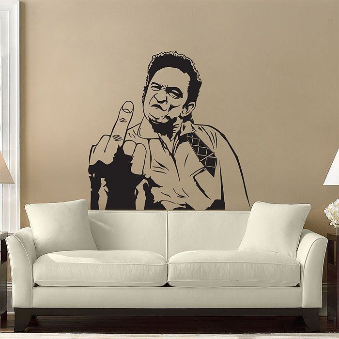 johnny cash middle finger vinyl wall art decal bmw car