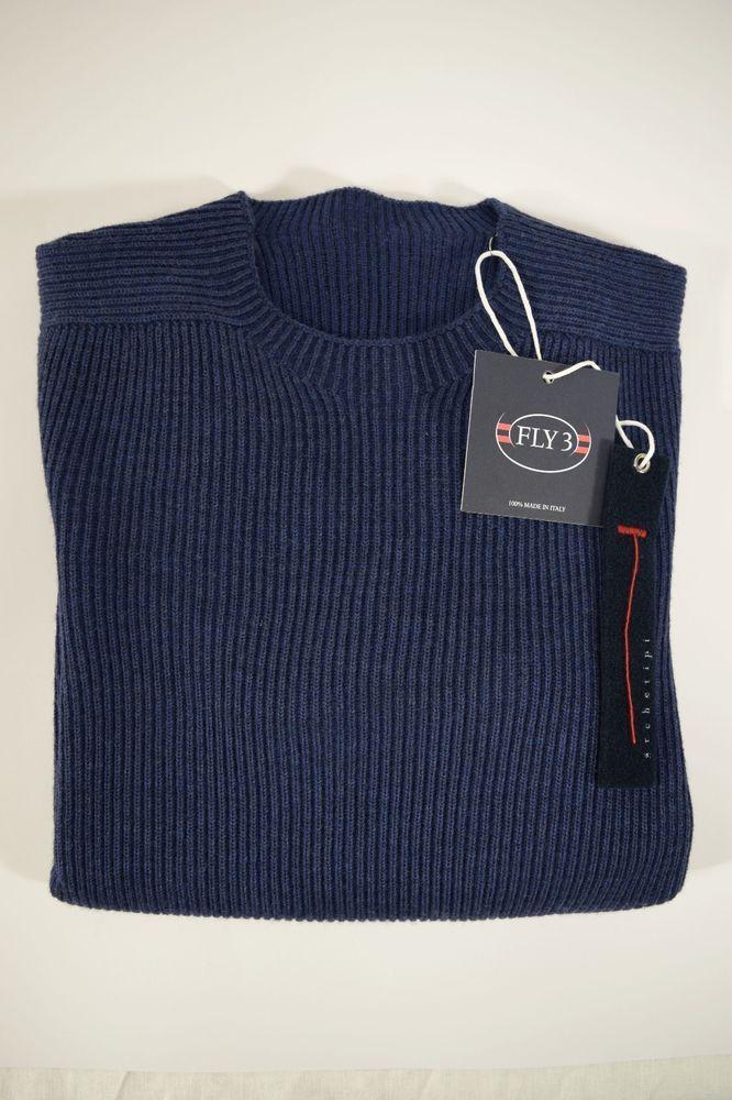 NWT FLY3 pullover uomo REVERSIBILE maglione GIROCOLLO lana cotone A/I tg. 50(IT)