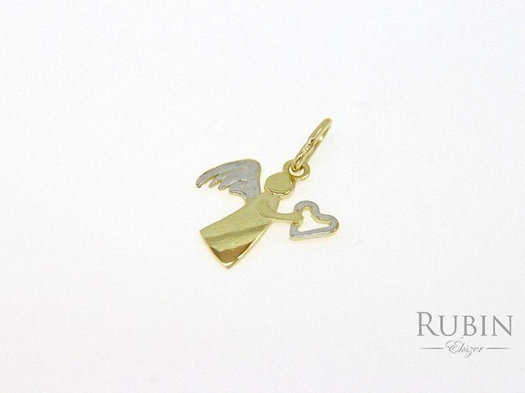 Angyal motívumos bikolor arany medál