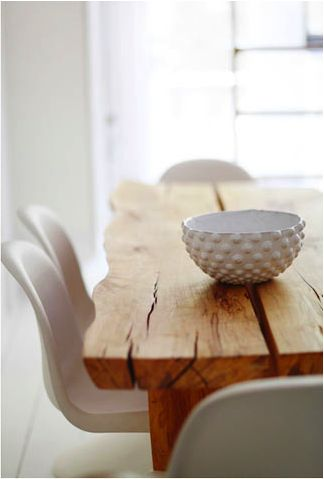 hand-built dining room table & textured bowl- I adore this clean and rustic look .
