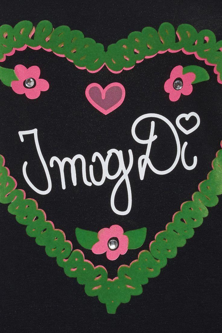 Trendiges Trachten-Shirt mit süßen 'I mog Di' Print V-Ausschnitt Ärmel mit roten Herz bestickt Verzierung der Blümchen mit großen Straßsteinen grünes, großes Herz bepflockt rosa Printappliaktionen