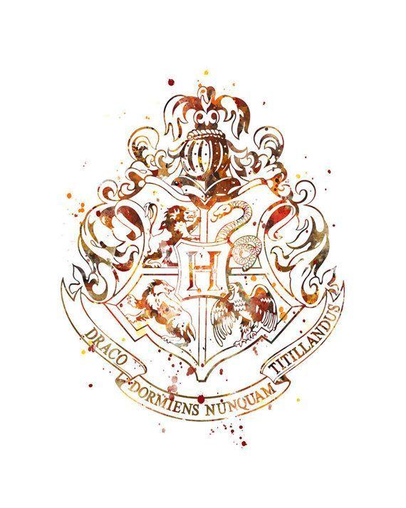 Hogwarts Crest Print Watercolor Art Harry Potter Print Wizard