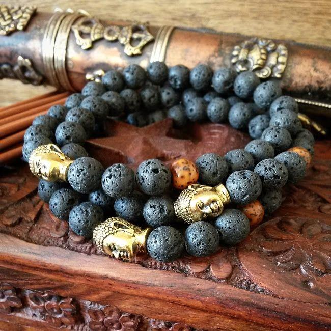 Mens Buddha Bracelets with Lava Stone, Lotus Seed Mala Bead and Gold Plated Buddha.