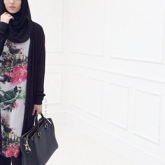 INAYAH | Ink Midi Dress + Black Maxi Cardigan + Black Maxi Jersey Hijab www.inayahcollection.com
