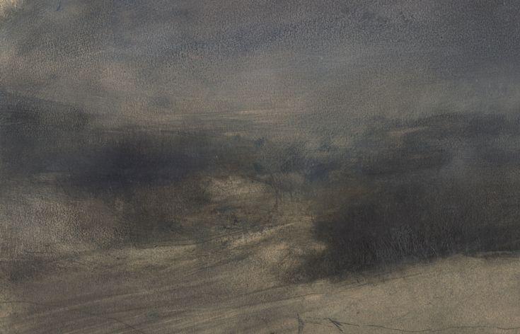 Nicholas Herbert, British Artist - Landscape L972, Sharpenhoe Series, Cornfields South Bedfordshire, The Chiltern Hills, contemporary mixed media painting