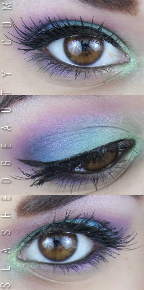❤ http://ibeautyoutlet.com/ PEACOCK EYES MAKEUP TUTORIAL | Blue, Green Purple