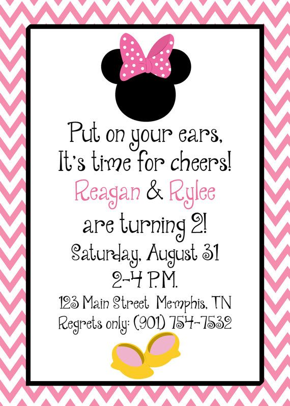159 best all things mickey minnie images on pinterest birthdays printed or digital minnie mouse inspired toodles pink chevron birthday invitations 5x7 customized minnie mouse invites design 082 each solutioingenieria Images