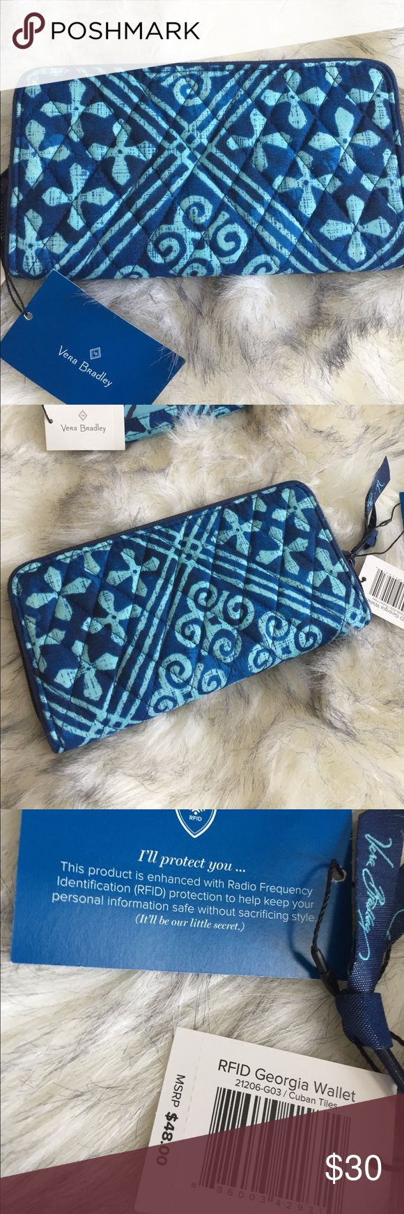 Vera Bradley Matching Bundle NWT Brand new Vera Bradley Wallet in the pattern Cuban Tiles. This Wallet is also enhanced with Radio frequency identification to help keep your personal information in the wallet safe! And also included a matching Zip ID Case. Vera Bradley Bags