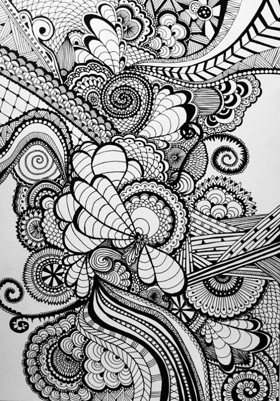 A3 size black swirley dragonfly zentangle/ doodle hand drawn ink picture. Drawn on good quality thick 300g/m2 paper. Price reflected is without a frame. If you would like to purchase this with a standard frame, the additional cost is £16, and will require a longer delivery time as I will need to order the frame and wait for it to arrive. Pls message me for this option.