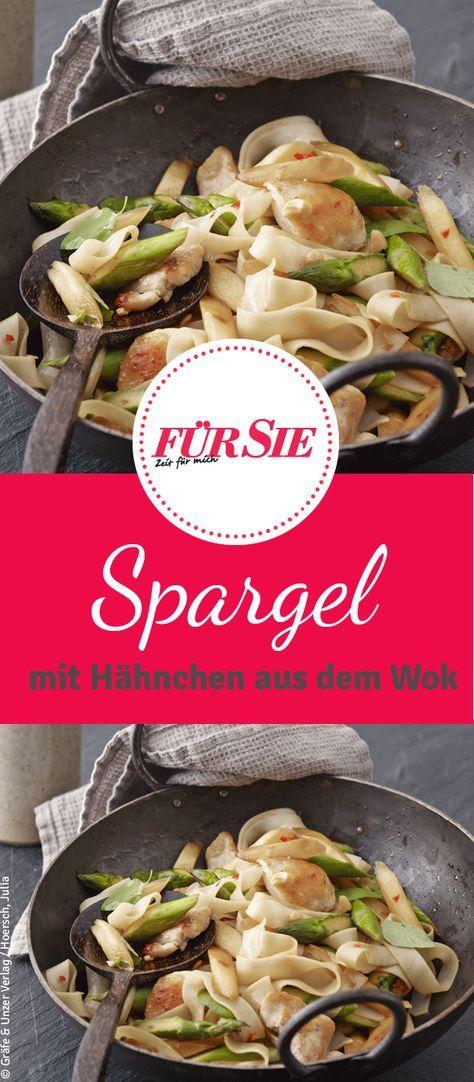 Probiert doch mal unser Rezept für frischen Spargel aus dem Wok, mit zartem Hähnchen und Reis-Bandnudeln! Das Reszept findet ihr bei uns.