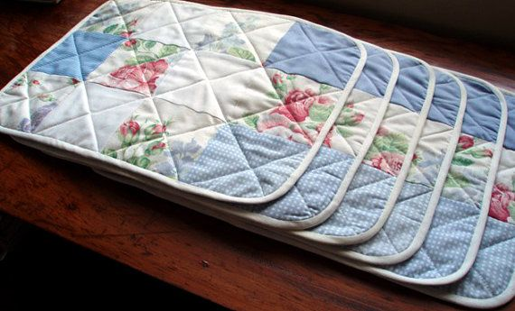 Custom made quilted place mats by ThreadfullyPretty on Etsy