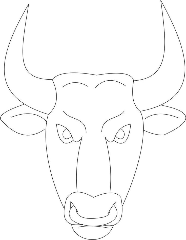 Bull Mask Printable Coloring Page For Kids