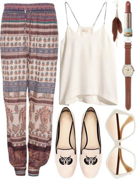 pants boho boho pants bohemian bohemian style loose ethnic shirt