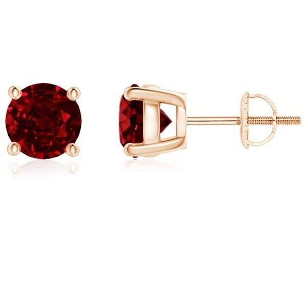 Prong Set Solitaire Ruby Basket Stud Earrings ($959) ❤ liked on Polyvore featuring jewelry, earrings, stud earring set, ruby earrings, ruby jewellery, ruby jewelry and earrings jewelry